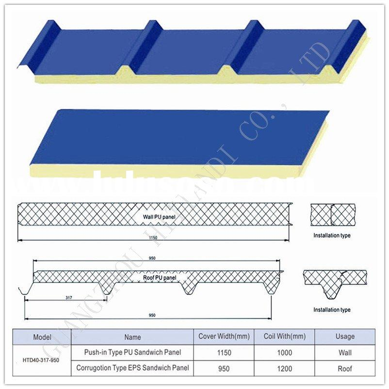 Sandwich Panels Types : Roof wall corrugated sheets purlins sandwich panels