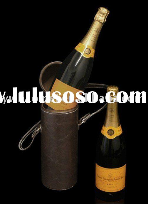PU/PVC champagne box, luxury wine carrier, faux leather champagne carry case