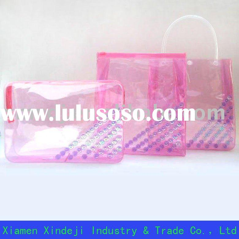 Pink PVC plastic bag for cosmetic or promotion