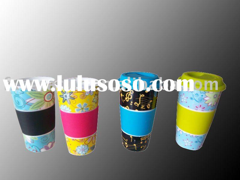 Porcelain double wall mug with silicone lid & handle (ceramic thermal cup)
