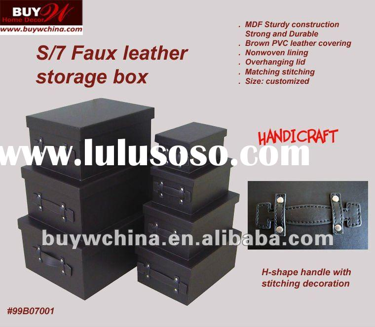 Promotional S/7 Faux Leather STORAGE BOX set with handle