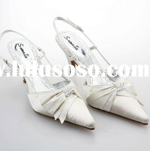 Satin upper slingbacks with butterfly decoration wedding shoes