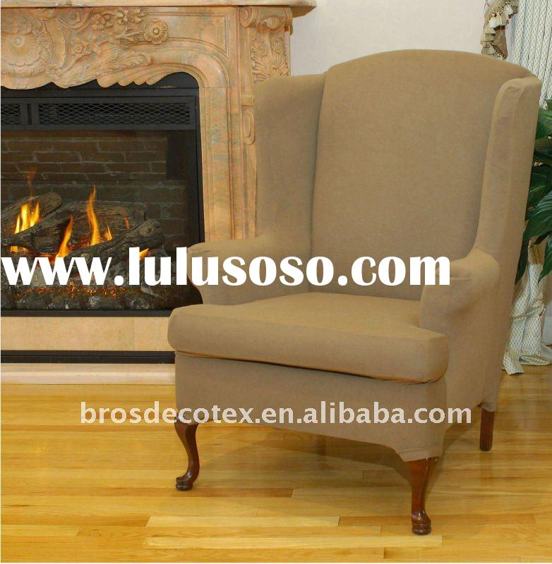 Stretch wing chair slipcover (Fitted wingback furniture cover with elastic bottom)