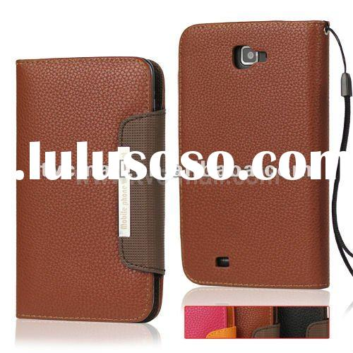 Wallet Flip Leather Case with Strap for Samsung Galaxy Note I9220 GT-N7000