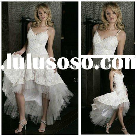 White Lace Tulle Hot Short Front Long Back Wedding Dress