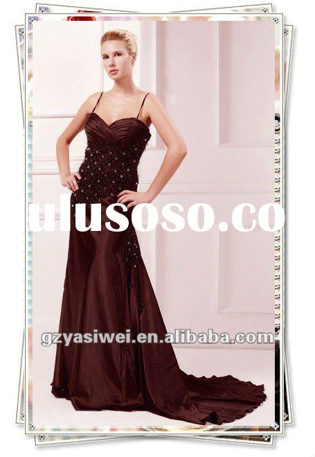 YSW92003 2012 Fashion Crystal Beading Imitation Silk Designer Prom Dress