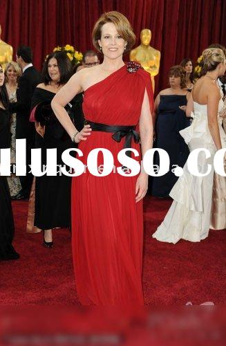 ZL061 Free shipping beaded one-shoulder red chiffon with black bow sash evening dress