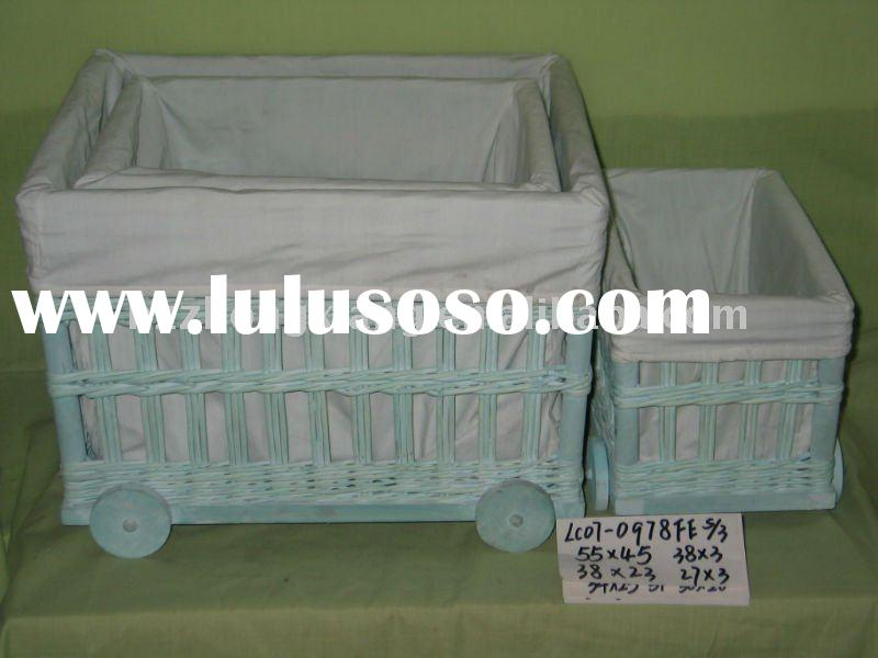 baby wicker storage basket with wheels and liners