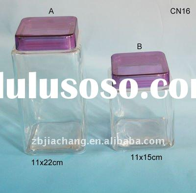 clear glass candy storage jar with plastic lid CN16
