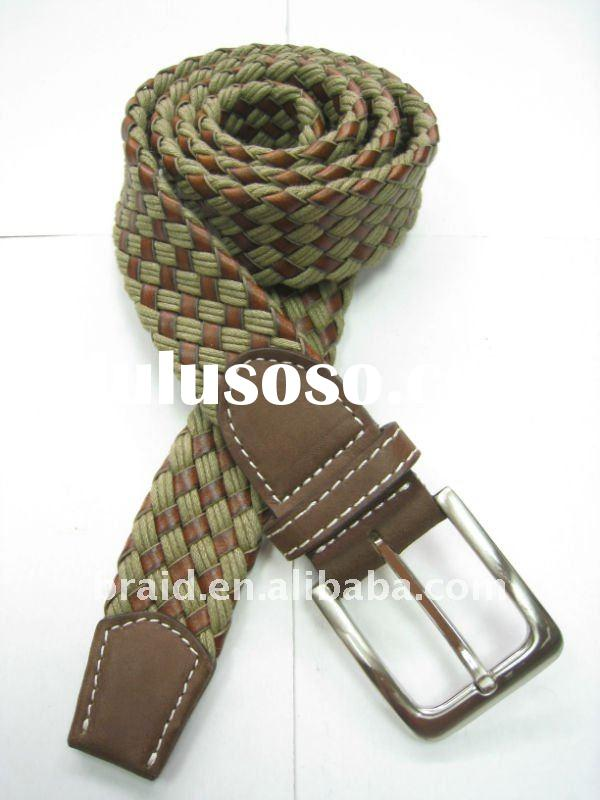 knitted cotton fabric soft leather belt for men