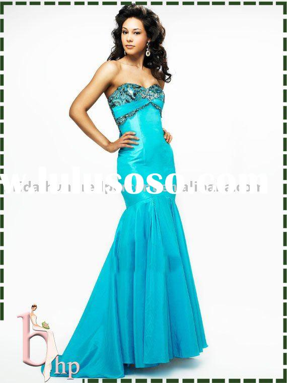 mermaid strapless lace up back blue prom dress