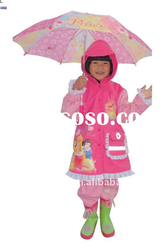 pink colour princess printing fashionable long nylon raincoat for girls