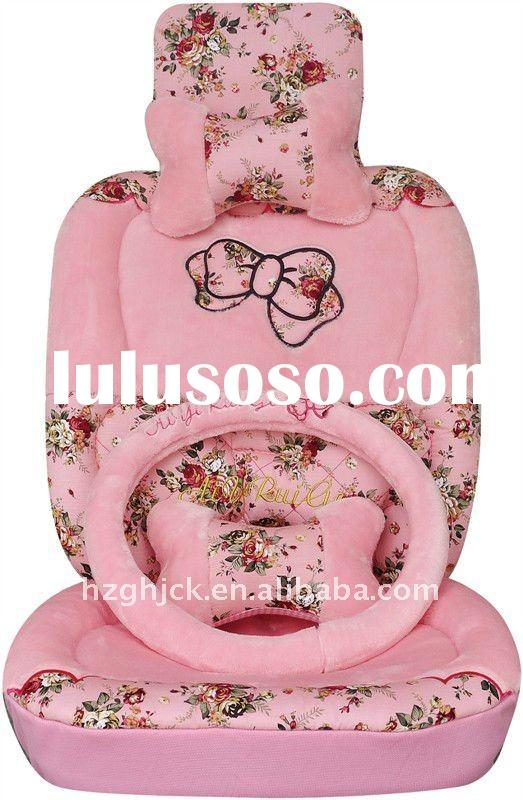 pink winter oem cartoon complete fur car seat cover set
