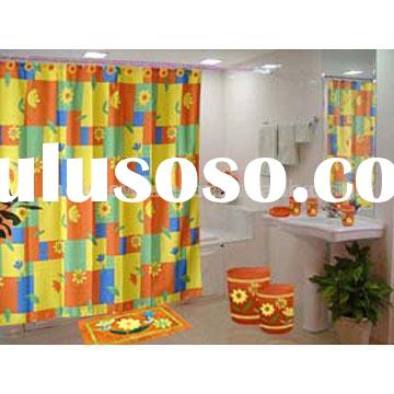printed flower polyester shower curtain and bathroom accessaries