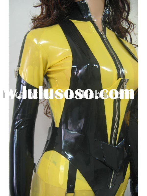 rubber latex wear, latex costumes,black and yellow silk spectre costume with corset,catsuit stocking