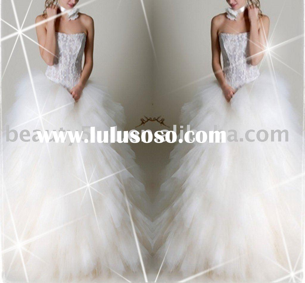 shining futher hot sell bridal gown,wedding dress with superior quality GA-075