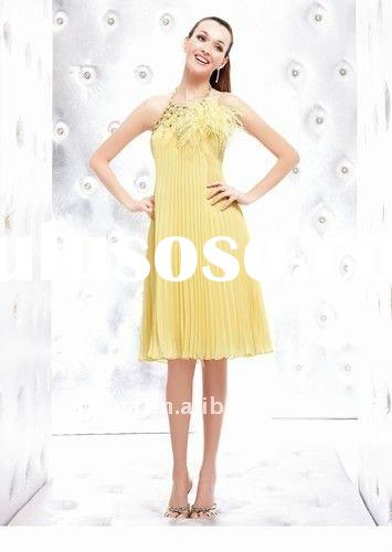 short 2011 hotsale elegant yellow halter neck evening dresses wlf936