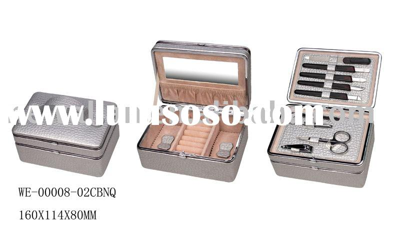 stainless steel metal-framed Manicure sets & Jewelry boxes with ladies' make up tools