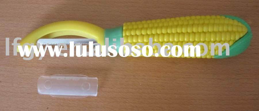 stainless steel paring knife/peeler with corn shape plastic handle