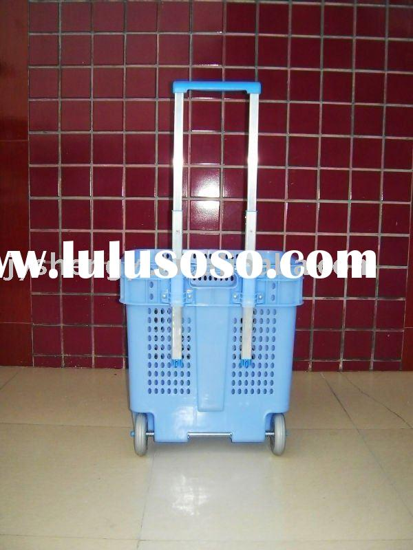 supermarket basket,rolling shopping basket,shopping basket with wheels