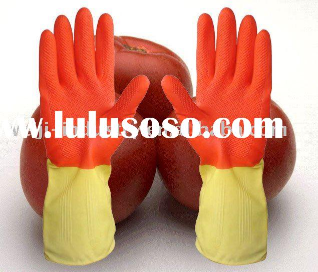 two color household Latex rubber gloves