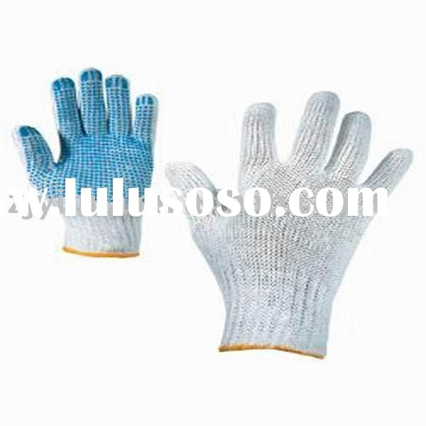 100% cotton glove with pvc dots