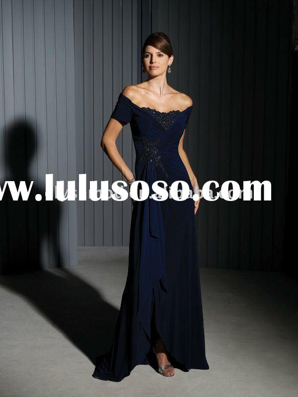 2011 Hot Selling Chiffon Long Chiffon Vintage Navy Mother of the Bride Dress