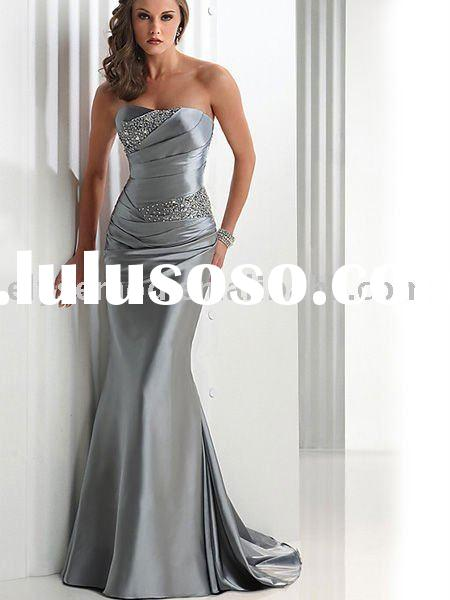 2011 New Style Hot-Sale Elegant Silver Strapless Tube Top Evening Dress
