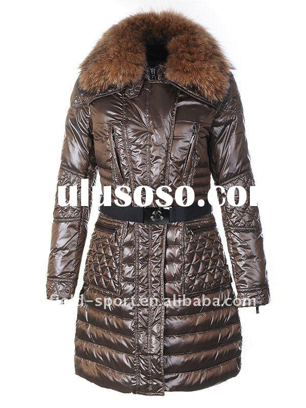 2011 fashion long down coats /jackets with Detachable, fur trimmed collar