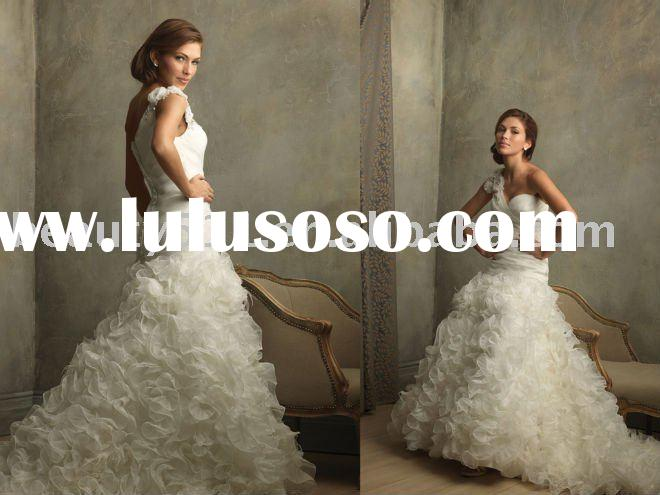 2011 latest Gorgeous romantic one-shoulder ivory wedding dresses bridal gowns prom ball gownsYP0093