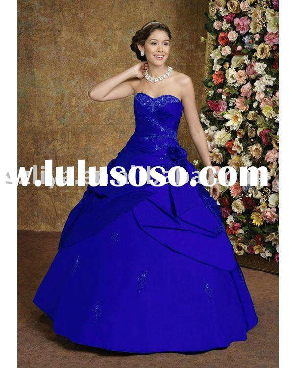 2011 new arrival royal blue strapless satin Quinceanera dress RB005