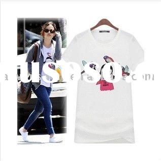 2011 newest style ladies trendy O-neck short sleeve lovely printed modal t-shirt
