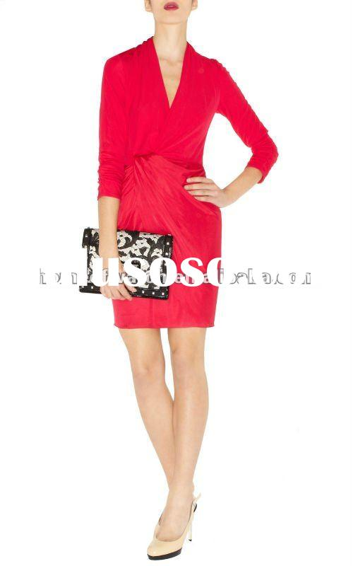 2012 Red V Neck Long Sleeve Dress with Draped Knot on Waist Lady Coat Casual Dress DN026