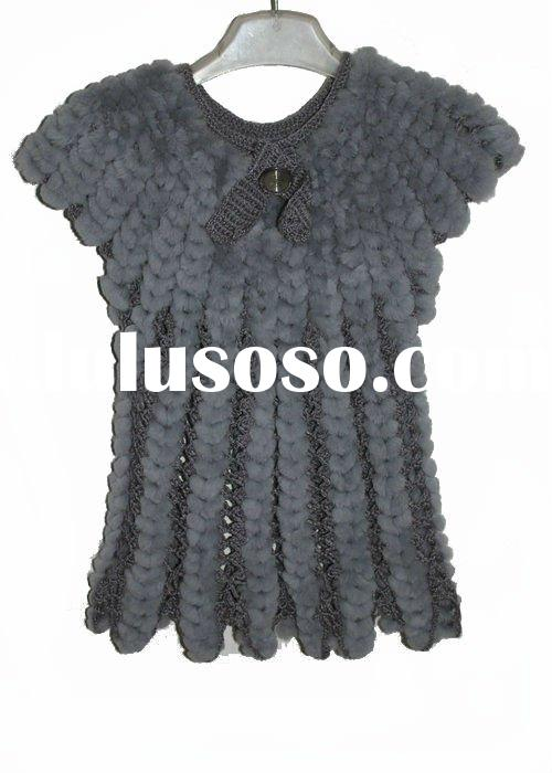 2012 new type knitted rex rabbit fur vest