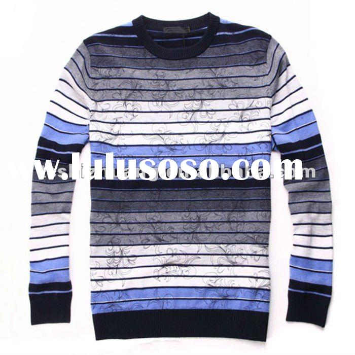 2012 small MOQ 100% wool round collar high weight men pollover sweater design