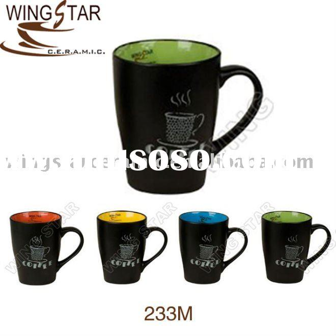 233M ceraminc coffee mug outside matte black 14oz