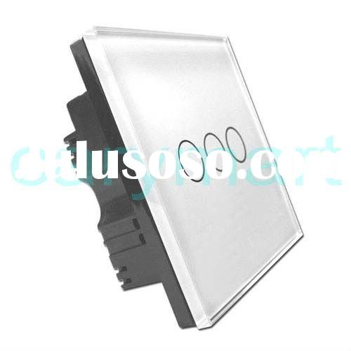 3 Gang ON/ OFF Wall Light Switch/ Touch Switch Crystal Glass Panel & LED Indicator