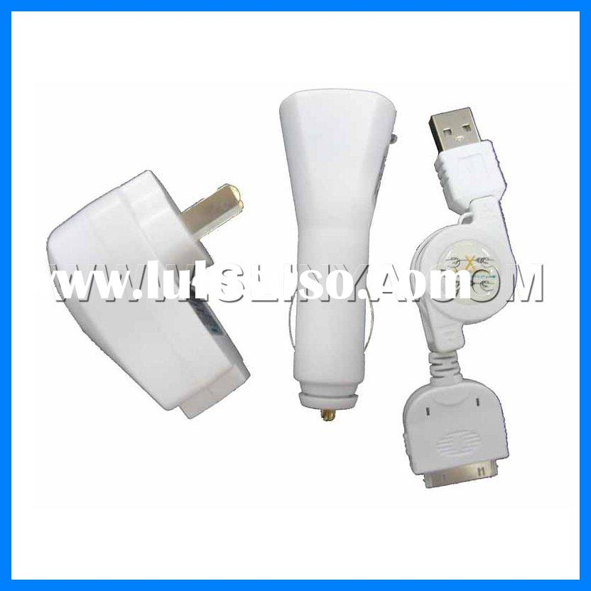 3 in 1 car charger for iphone,usb travel charger for iphone 3g 3gs
