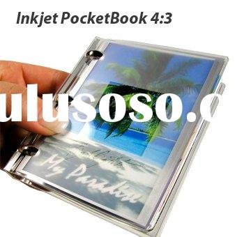 4:3 hand perfect DIY paper book with glossy photo paper sheets,3 metal feeling rings and transparent