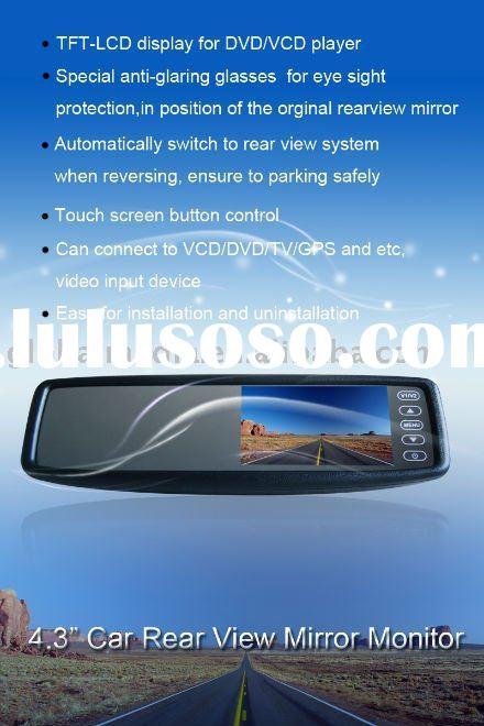 4.3 inch TFT-LCD car rearview mirror monitor with 2 ways video input and touching screen for vw Beet