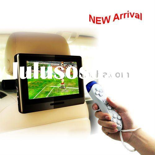 9 inch touch screen active headrest car mount dvd player with 32bit game,64bit games