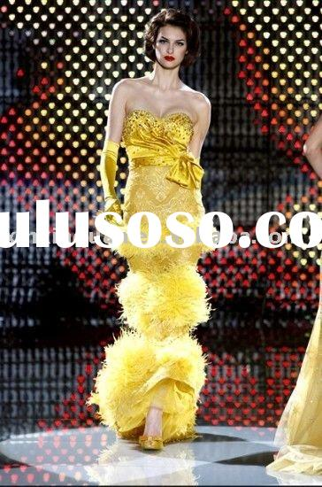 AA007 Sweetheart jeweled bodice bow belt real ostrich hair cascade yellow lady evening dress fashion