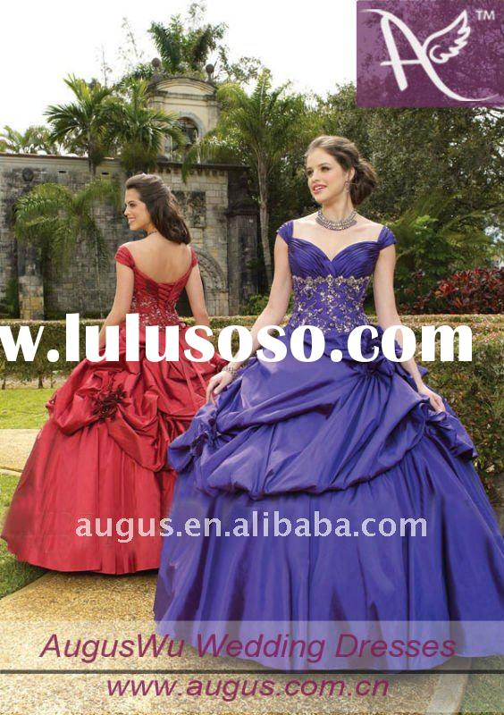 AQM001 New Elegant Cap Sleeves Floor Length Ball Gown Quinceanera Dresses Prom Gowns 2012