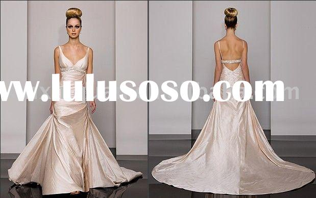 AW233 Fashion beaded spaghetti strap low-cut back empire wedding dress