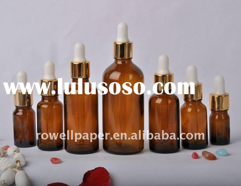 Amber glass essential oil bottle with dropper
