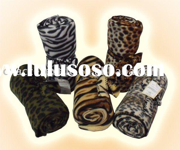Animal skin printed polar fleece throw