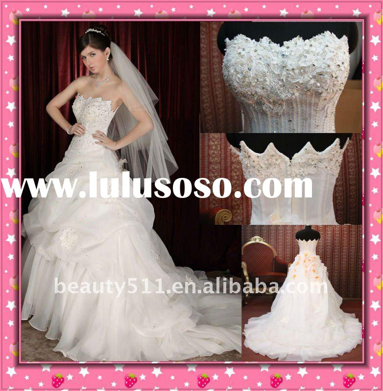 Astergarden 2011 New Style French Lace Beaded Sweetheart Organza Wedding Gown wdx156