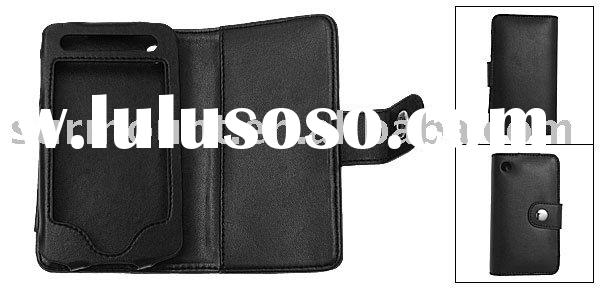 Black Snap Fastener Faux Leather Case Pouch for iPhone 3G