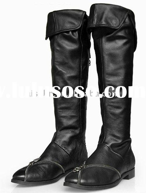 Black genuine leather boots for woman