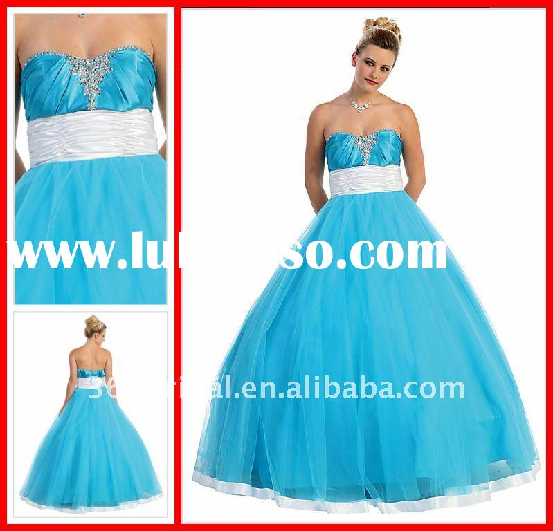 Blue Ball Gown Sweetheart Beaded Tulle prom dress quinceanera dresses 2012